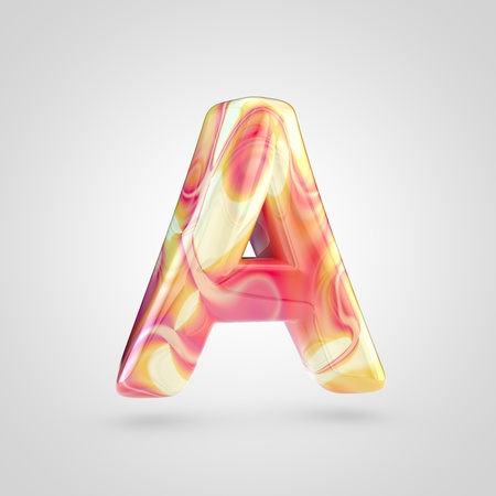 Glossy holographic letter A uppercase. 3D rendering font with orange, red and yellow color isolated on white background.