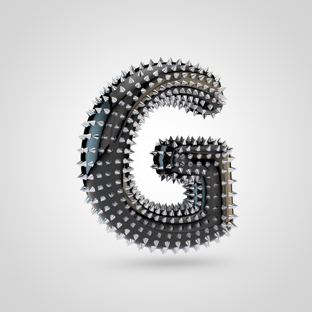 BDSM letter G uppercase. 3D rendering black latex font with chrome spikes isolated on white background. 스톡 콘텐츠