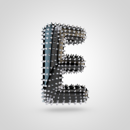 BDSM letter E uppercase. 3D rendering black latex font with chrome spikes isolated on white background.