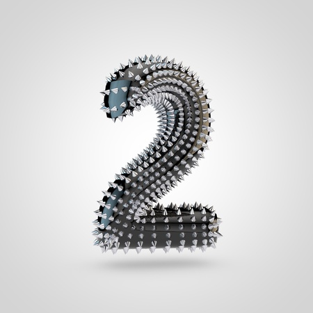 BDSM number 2. 3D rendering black latex font with chrome spikes isolated on white background.