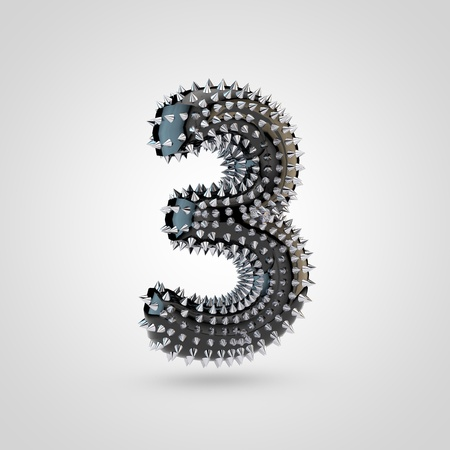 BDSM number 3. 3D rendering black latex font with chrome spikes isolated on white background.