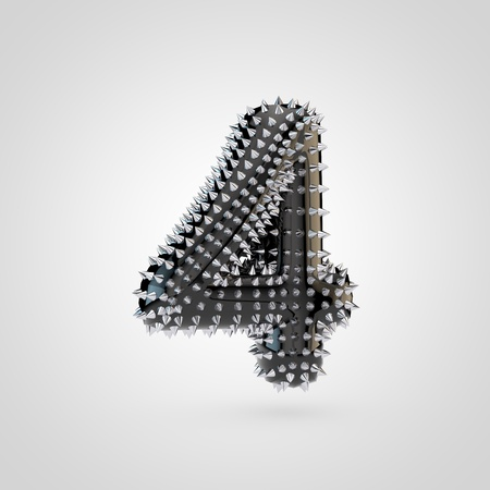 BDSM number 4. 3D rendering black latex font with chrome spikes isolated on white background. Stock Photo