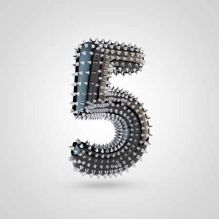 BDSM number 5. 3D rendering black latex font with chrome spikes isolated on white background. Stock Photo