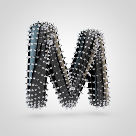 BDSM letter M uppercase. 3D rendering black latex font with chrome spikes isolated on white background.