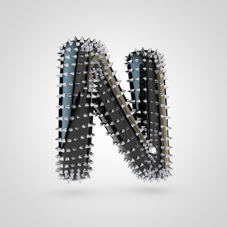 BDSM letter N uppercase. 3D rendering black latex font with chrome spikes isolated on white background.