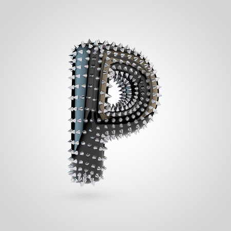 BDSM letter P uppercase. 3D rendering black latex font with chrome spikes isolated on white background.