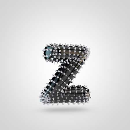 BDSM letter Z lowercase. 3D rendering black latex font with chrome spikes isolated on white background. Stock Photo