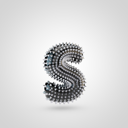 BDSM letter S lowercase. 3D rendering black latex font with chrome spikes isolated on white background. Stock Photo