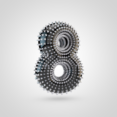 BDSM number 8. 3D rendering black latex font with chrome spikes isolated on white background.