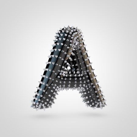 BDSM letter A uppercase. 3D rendering black latex font with chrome spikes isolated on white background.