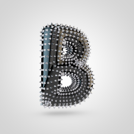 BDSM letter B uppercase. 3D rendering black latex font with chrome spikes isolated on white background.