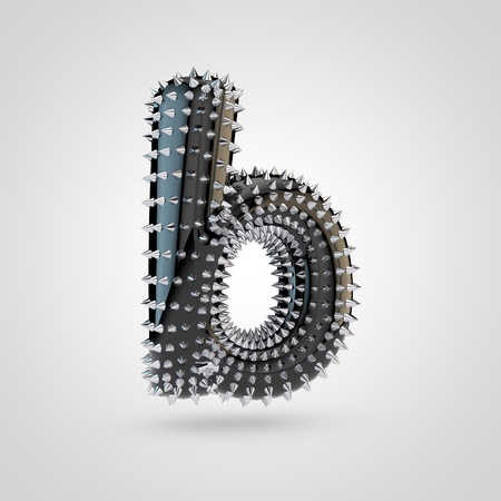 BDSM letter B lowercase. 3D rendering black latex font with chrome spikes isolated on white background.