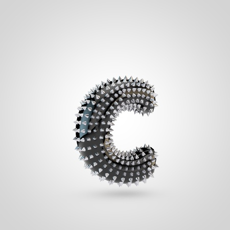 BDSM letter C lowercase. 3D rendering black latex font with chrome spikes isolated on white background.
