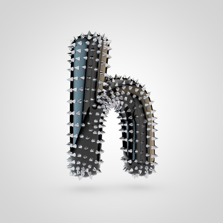 BDSM letter H lowercase. 3D rendering black latex font with chrome spikes isolated on white background.