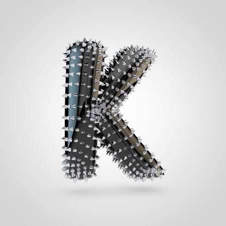 BDSM letter K uppercase. 3D rendering black latex font with chrome spikes isolated on white background.