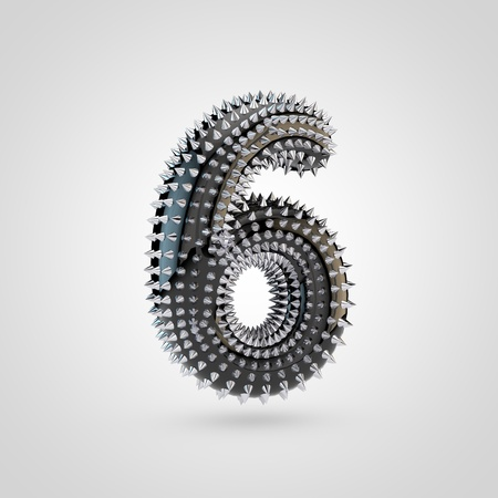 BDSM number 6. 3D rendering black latex font with chrome spikes isolated on white background.