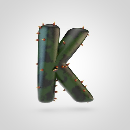Plant letter K uppercase. 3D rendering of green plant font with spikes isolated on white background.