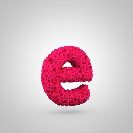 Sponge letter E lowercase. 3D rendering of pink sponge font isolated on white background. Stock Photo - 97643583
