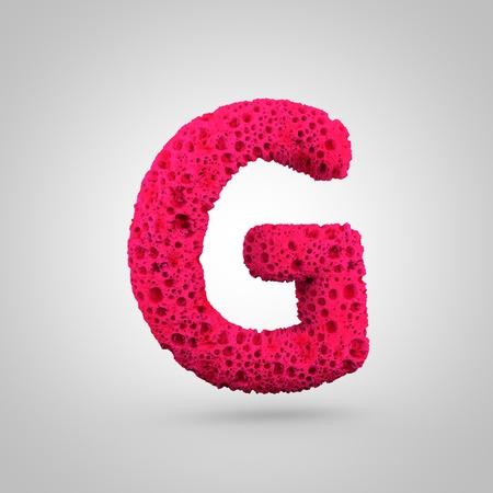 Sponge letter G uppercase. 3D rendering of pink sponge font isolated on white background.
