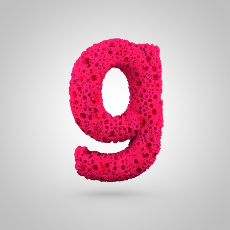 Sponge letter G lowercase. 3D rendering of pink sponge font isolated on white background.