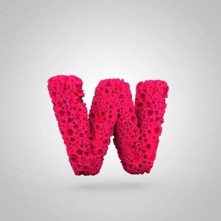 Sponge letter W lowercase. 3D rendering of pink sponge font isolated on white background. Stock Photo