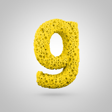 Sponge letter G lowercase. 3D rendering of yellow sponge font isolated on white background.