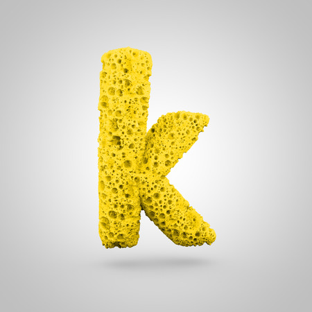 Sponge letter K lowercase. 3D rendering of yellow sponge font isolated on white background.