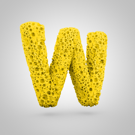 Sponge letter W uppercase. 3D rendering of yellow sponge font isolated on white background.