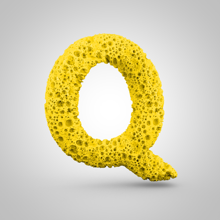 Sponge letter Q uppercase. 3D rendering of yellow sponge font isolated on white background. Stock Photo
