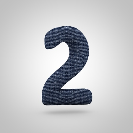 Jeans number 2. 3D render font with blue denim texture isolated on white background.