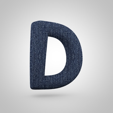 Jeans letter D uppercase. 3D render font with blue denim texture isolated on white background. Stock Photo
