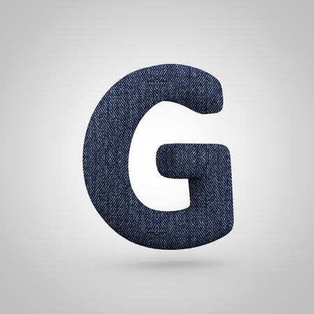 Jeans letter G uppercase. 3D render font with blue denim texture isolated on white background.