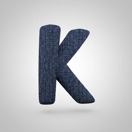 Jeans letter K uppercase. 3D render font with blue denim texture isolated on white background. Stock Photo