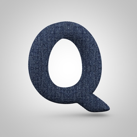 Jeans letter Q uppercase. 3D render font with blue denim texture isolated on white background.