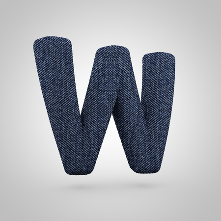 Jeans letter W uppercase. 3D render font with blue denim texture isolated on white background.