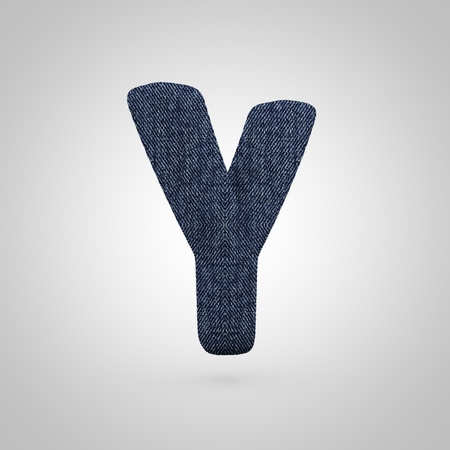 Jeans letter Y uppercase. 3D render font with blue denim texture isolated on white background. Stock Photo