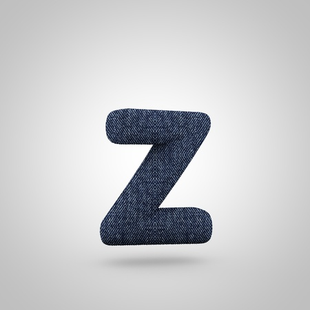 Jeans letter Z lowercase. 3D render font with blue denim texture isolated on white background. Stock Photo