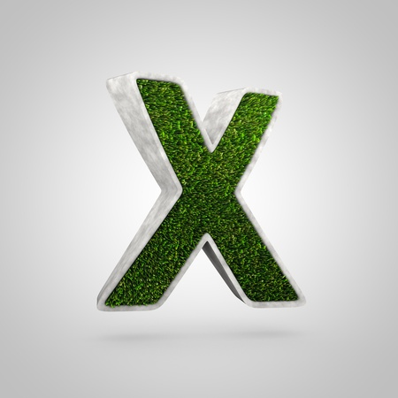 Grass letter X uppercase. 3D render flowerbed shaped font with green grass isolated on white background.