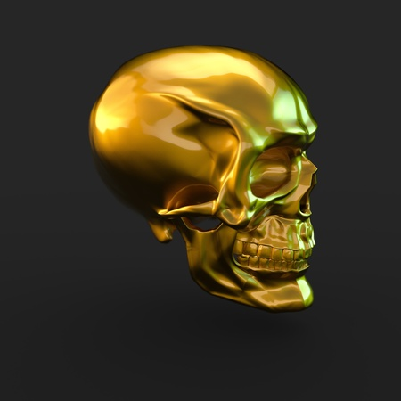 3D render golden glossy skull with light reflections isolated on black background