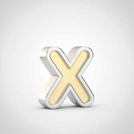 Gloosy letter X lowercase. 3D render gold font with silver outline isolated on white background. Stock Photo