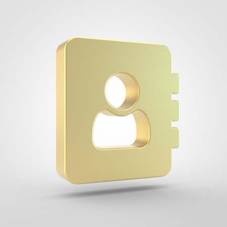 Adress book icon. 3d render of golden adress book symbol isolated on white background.