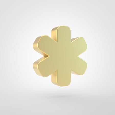 Asterisk icon. 3d render of golden basterisk symbol isolated on white background.