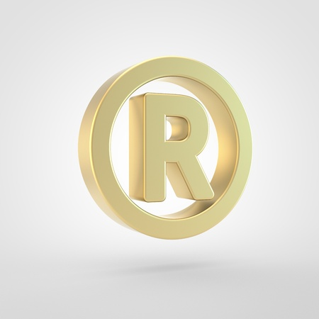 Registered icon. 3d render of golden registered symbol isolated on white background.