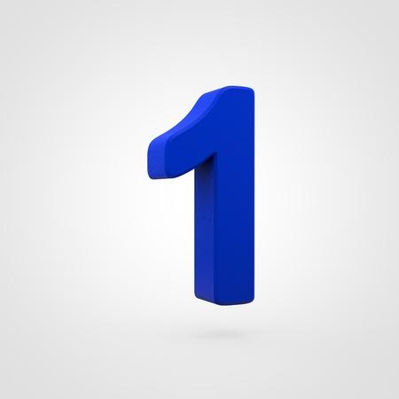 Plastic number 1. 3D render blue plastic font isolated on white background. Reklamní fotografie