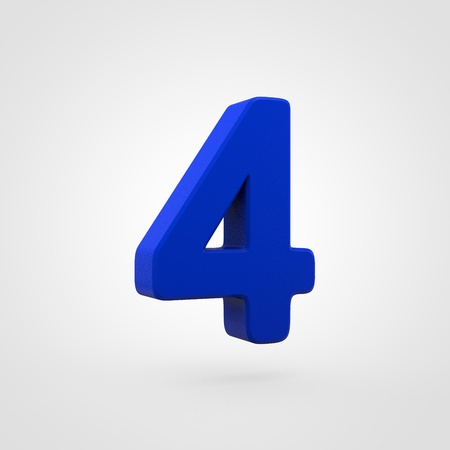 Plastic number 4. 3D render blue plastic font isolated on white background.
