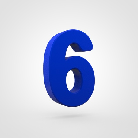 Plastic number 6. 3D render blue plastic font isolated on white background.