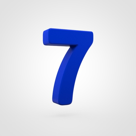 Plastic number 7. 3D render blue plastic font isolated on white background.