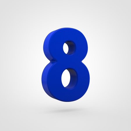 Plastic number 8. 3D render blue plastic font isolated on white background.