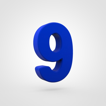 Plastic number 9. 3D render blue plastic font isolated on white background. 写真素材