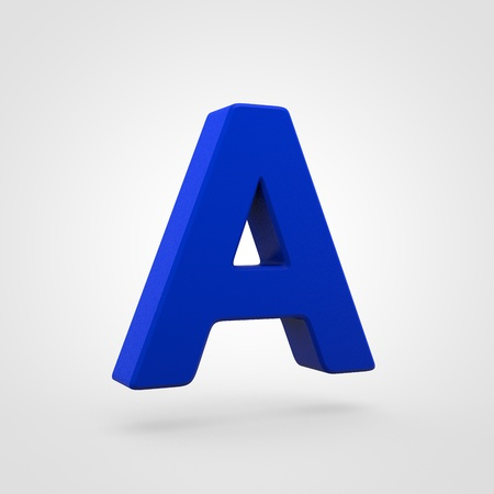 Plastic letter A uppercase. 3D render blue plastic font isolated on white background.